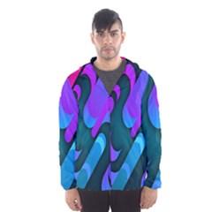 Chevron Wave Rainbow Purple Blue Pink Hooded Wind Breaker (Men)