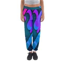 Chevron Wave Rainbow Purple Blue Pink Women s Jogger Sweatpants
