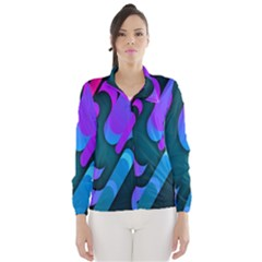 Chevron Wave Rainbow Purple Blue Pink Wind Breaker (Women)