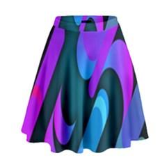 Chevron Wave Rainbow Purple Blue Pink High Waist Skirt