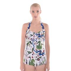 Bird Green Swan Boyleg Halter Swimsuit