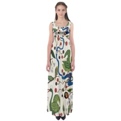 Bird Green Swan Empire Waist Maxi Dress