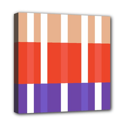 Compound Grid Flag Purple Red Brown Mini Canvas 8  x 8