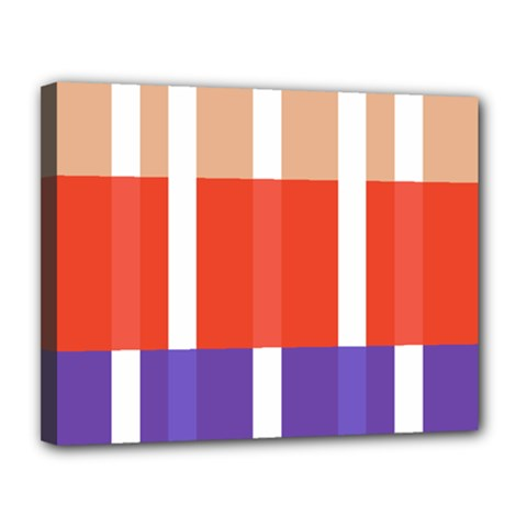 Compound Grid Flag Purple Red Brown Canvas 14  x 11