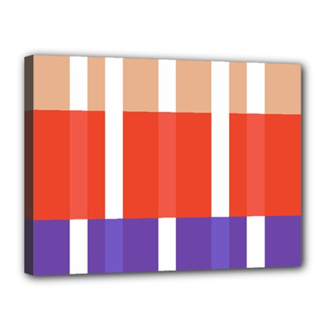 Compound Grid Flag Purple Red Brown Canvas 16  x 12