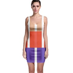 Compound Grid Flag Purple Red Brown Sleeveless Bodycon Dress