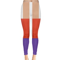 Compound Grid Flag Purple Red Brown Leggings