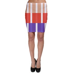 Compound Grid Flag Purple Red Brown Bodycon Skirt
