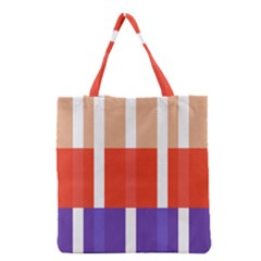 Compound Grid Flag Purple Red Brown Grocery Tote Bag