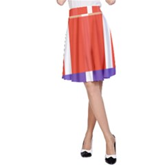 Compound Grid Flag Purple Red Brown A-Line Skirt