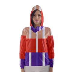 Compound Grid Flag Purple Red Brown Hooded Wind Breaker (Women)