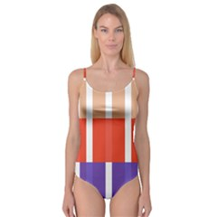 Compound Grid Flag Purple Red Brown Camisole Leotard