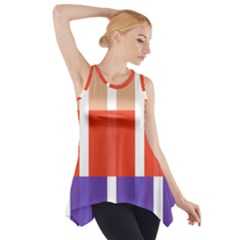 Compound Grid Flag Purple Red Brown Side Drop Tank Tunic