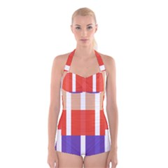 Compound Grid Flag Purple Red Brown Boyleg Halter Swimsuit