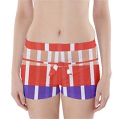 Compound Grid Flag Purple Red Brown Boyleg Bikini Wrap Bottoms