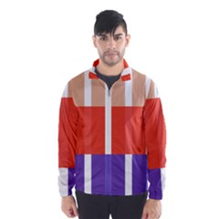 Compound Grid Flag Purple Red Brown Wind Breaker (Men)