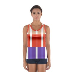 Compound Grid Flag Purple Red Brown Women s Sport Tank Top