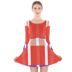 Compound Grid Flag Purple Red Brown Long Sleeve Velvet Skater Dress