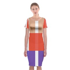 Compound Grid Flag Purple Red Brown Classic Short Sleeve Midi Dress