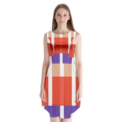 Compound Grid Flag Purple Red Brown Sleeveless Chiffon Dress