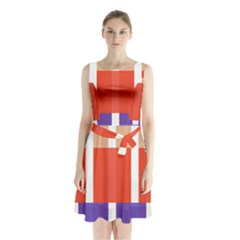 Compound Grid Flag Purple Red Brown Sleeveless Chiffon Waist Tie Dress