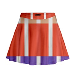 Compound Grid Flag Purple Red Brown Mini Flare Skirt