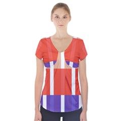 Compound Grid Flag Purple Red Brown Short Sleeve Front Detail Top