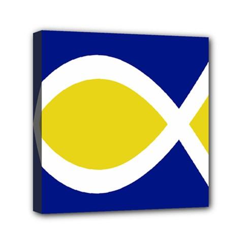 Flag Blue Yellow White Mini Canvas 6  x 6