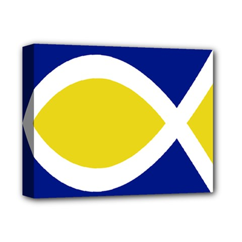 Flag Blue Yellow White Deluxe Canvas 14  x 11