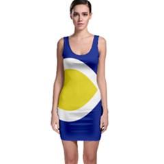 Flag Blue Yellow White Sleeveless Bodycon Dress