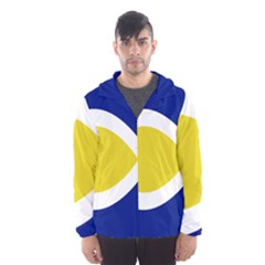 Flag Blue Yellow White Hooded Wind Breaker (Men)
