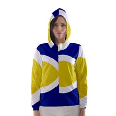 Flag Blue Yellow White Hooded Wind Breaker (Women)