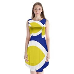 Flag Blue Yellow White Sleeveless Chiffon Dress