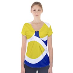 Flag Blue Yellow White Short Sleeve Front Detail Top