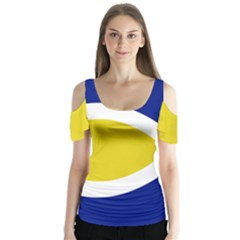 Flag Blue Yellow White Butterfly Sleeve Cutout Tee