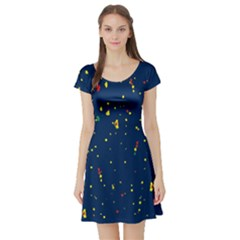 Christmas Sky Happy Short Sleeve Skater Dress