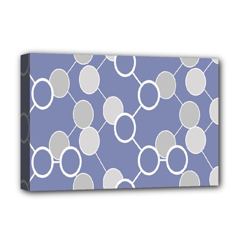 Circle Blue Line Grey Deluxe Canvas 18  x 12