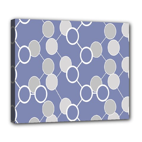 Circle Blue Line Grey Deluxe Canvas 24  x 20