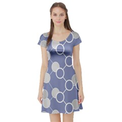 Circle Blue Line Grey Short Sleeve Skater Dress
