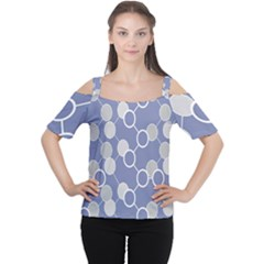 Circle Blue Line Grey Women s Cutout Shoulder Tee