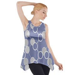 Circle Blue Line Grey Side Drop Tank Tunic