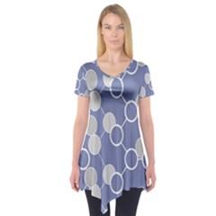 Circle Blue Line Grey Short Sleeve Tunic