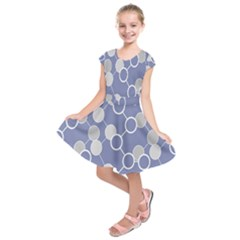 Circle Blue Line Grey Kids  Short Sleeve Dress