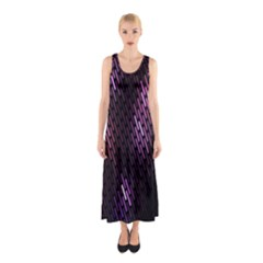 Fabulous Purple Pattern Wallpaper Sleeveless Maxi Dress