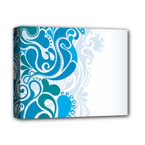 Garphic Leaf Flower Blue Deluxe Canvas 14  x 11