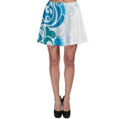 Garphic Leaf Flower Blue Skater Skirt