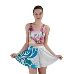 Garphic Leaf Flower Blue Mini Skirt