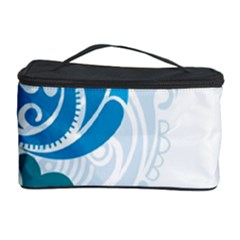 Garphic Leaf Flower Blue Cosmetic Storage Case
