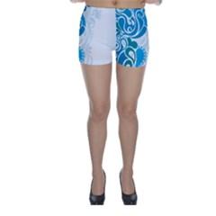 Garphic Leaf Flower Blue Skinny Shorts