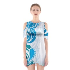 Garphic Leaf Flower Blue Shoulder Cutout One Piece